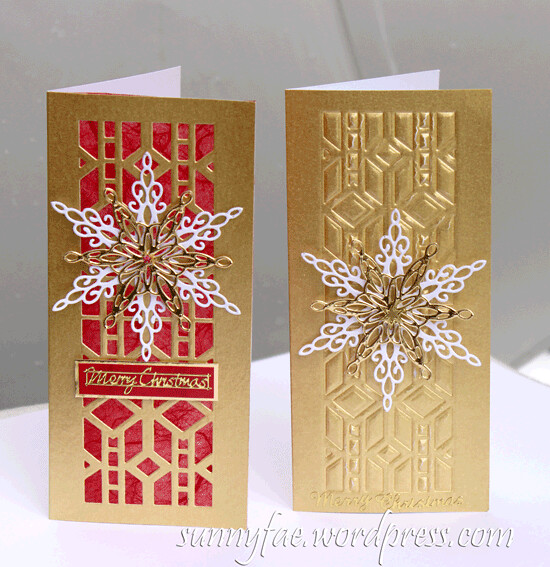 christmas embossed card snowflake