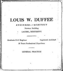 Louis Warren Duffee, Engineer --- Architect Advert.