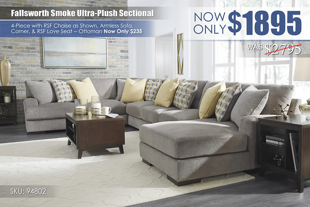 Fallsworth Smoke Ultra-Plush Sectional 94802-T027-MOOD-C