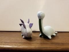 Felt Dinosaur set #8 - Light Blue/Green and Grey/Purple