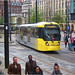 Tram leaving St Peter's Square, Manchester