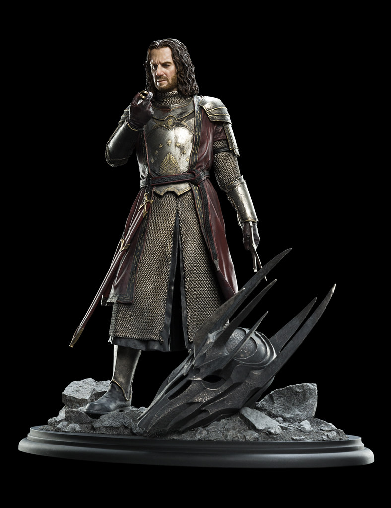 手持納希爾聖劍殘骸,奮力砍斷魔君索倫手指的男人!! WETA《魔戒》埃西鐸 Isildur 1/6 比例全身雕像作品