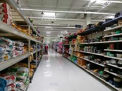 Pet supplies, looking down toward sporting goods