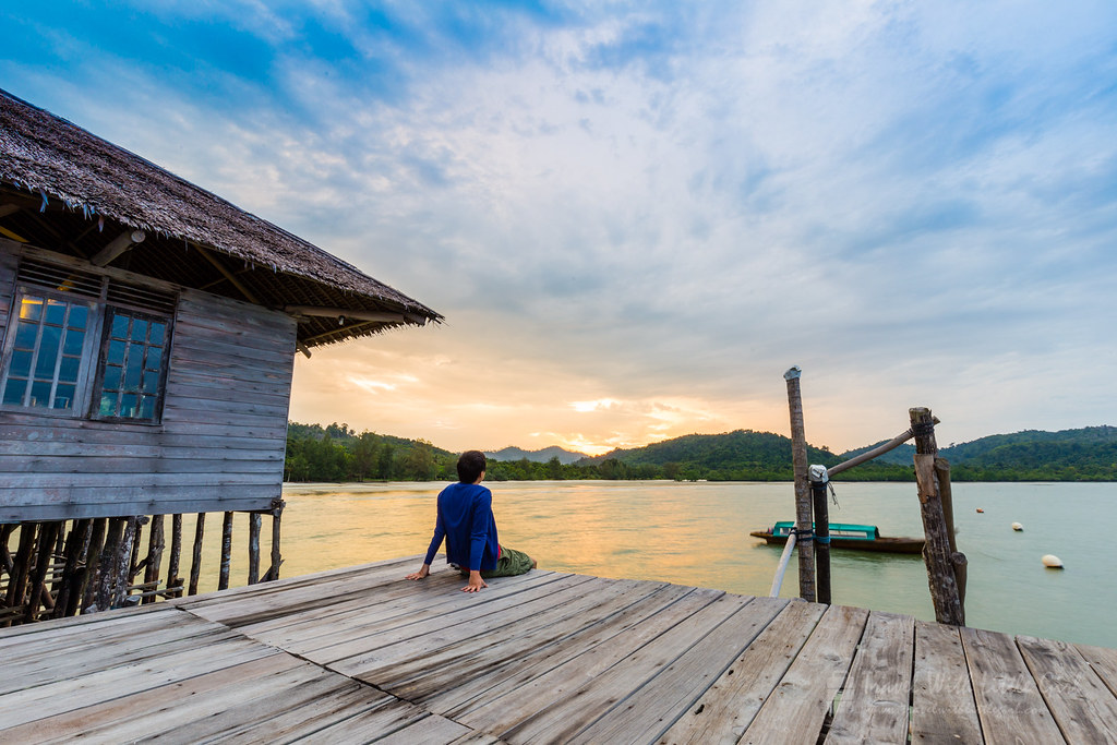 Me enjoying the Sunrise at Telunas Beach Resort