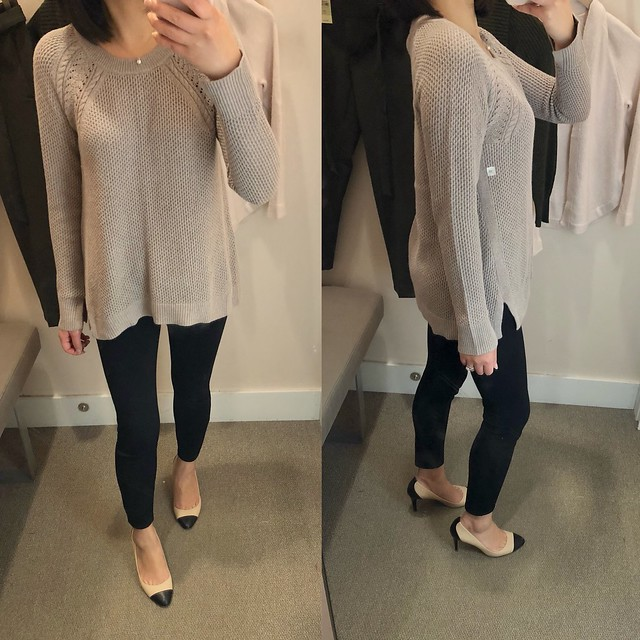 LOFT Cable Shoulder Sweater in taupe heather, size XS regular