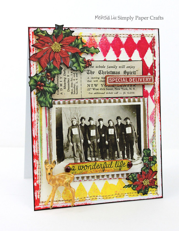 Meihsia Liu Simply Paper Crafts mixed media card Christmas Stitching Simon Says Stamp Monday Challenge Tim Holtz 1