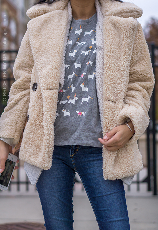 sherpa teddy coat, gray sherap open cardigan, gray tee with party animals, skinny jeans