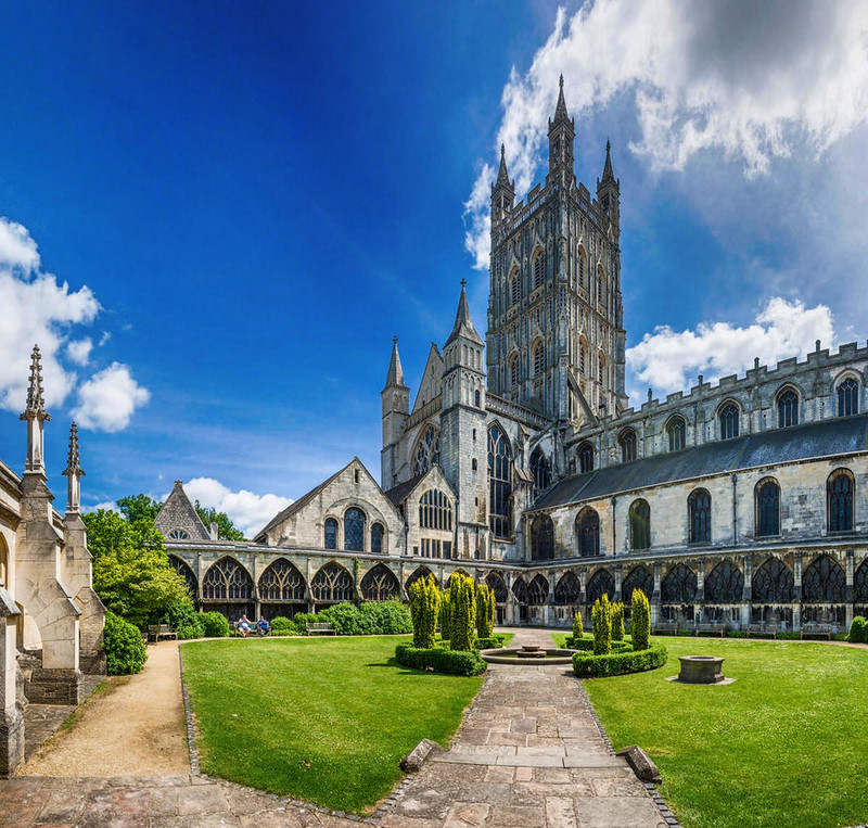 Gloucester Cathedral as seen from the Cloister. Credit David Iliff