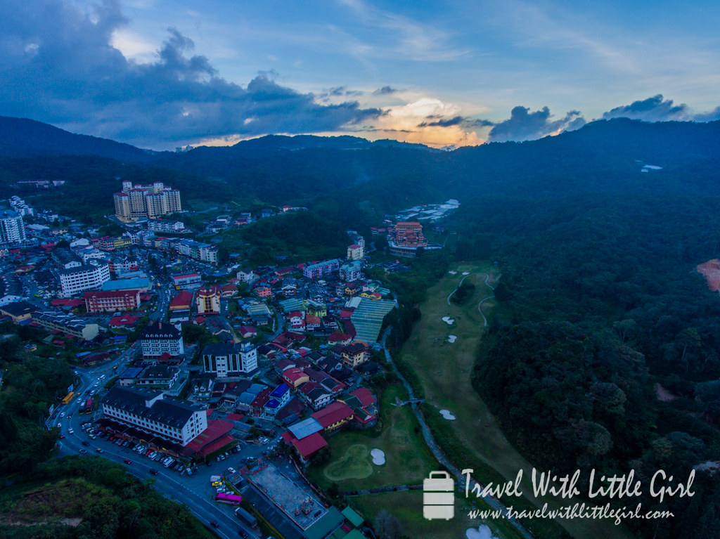 Sunset aerial view at Brinchang, Cameron Highlands