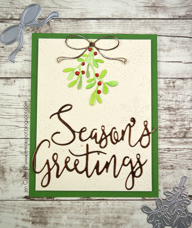 Jen Carter Season's Greetings Mistletoe Pinprick Snowflake