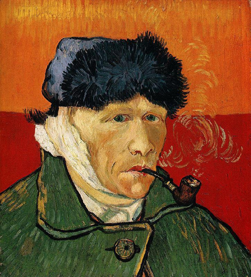 Self Portrait with Bandaged Ear and Pipe by Vincent van Gogh, 1889