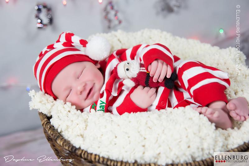 Newborn Boy in Christmas PJs