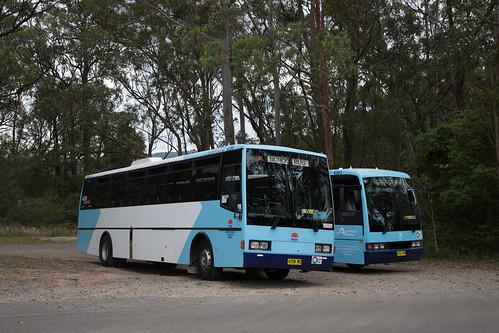 Hunter Valley Buses 4358 MO and 4361 MO at the Cooranbong