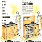 Sat, 2017-12-16 11:05 - The Caskette 'continuous burning cooker and water heater...Cooking and all your hot water for only one and a half hundredweight of coke a week'. Carron Company fold-out leaflet (2 views shown). n.d. [c.1953]