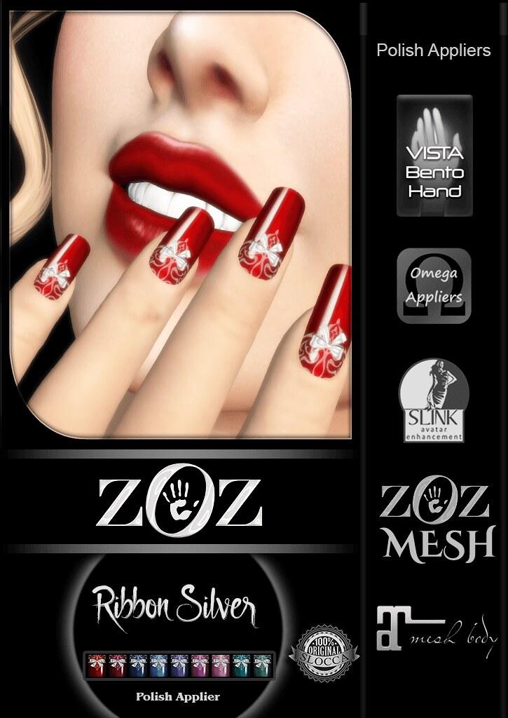 {ZOZ} Ribbon Silver pix L - TeleportHub.com Live!