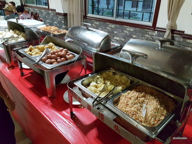 Breakfast buffet tables