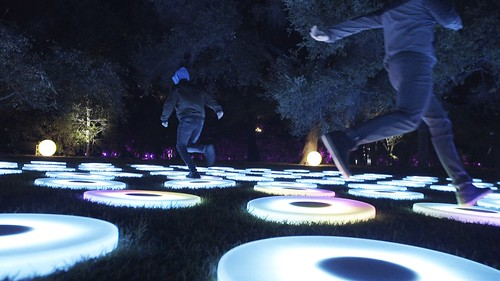 The Pool is an environment of giant, concentric circles created from interactive circular pads. By entering The Pool, you enter a world where play and collaborative movement create swirling effects of light and color. Imagine a giant canvas where you can