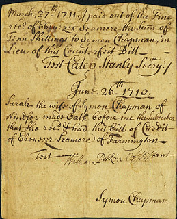 Colony of Connecticut July 12, 1709 3 Shillings Raised to 10 Shillings note back