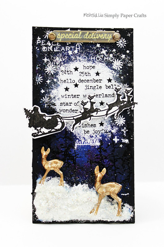 Meihsia Liu Simply Paper Crafts Mixed Media Tag Christmas Night Star Simon Says Stamp Tim Holtz 2