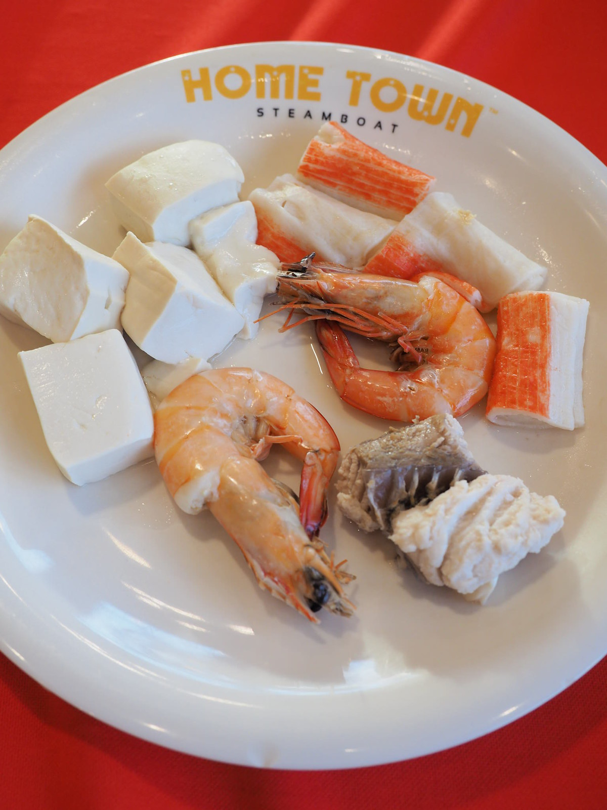 Tofu, prawns, fish and crab sticks
