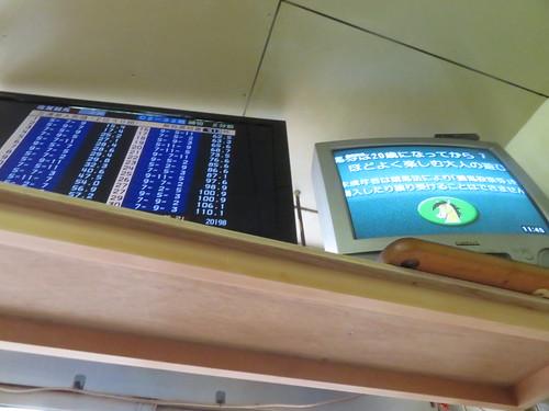 金沢競馬場の世界館のモニター