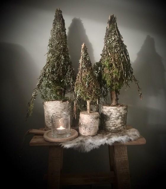Sobere mos kerstboompjes windlicht