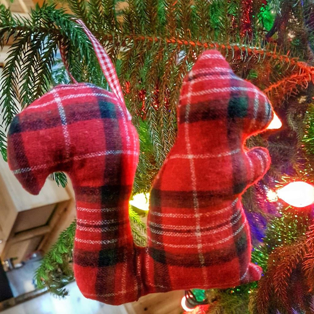 Plaid squirrel Christmas Tree ornament