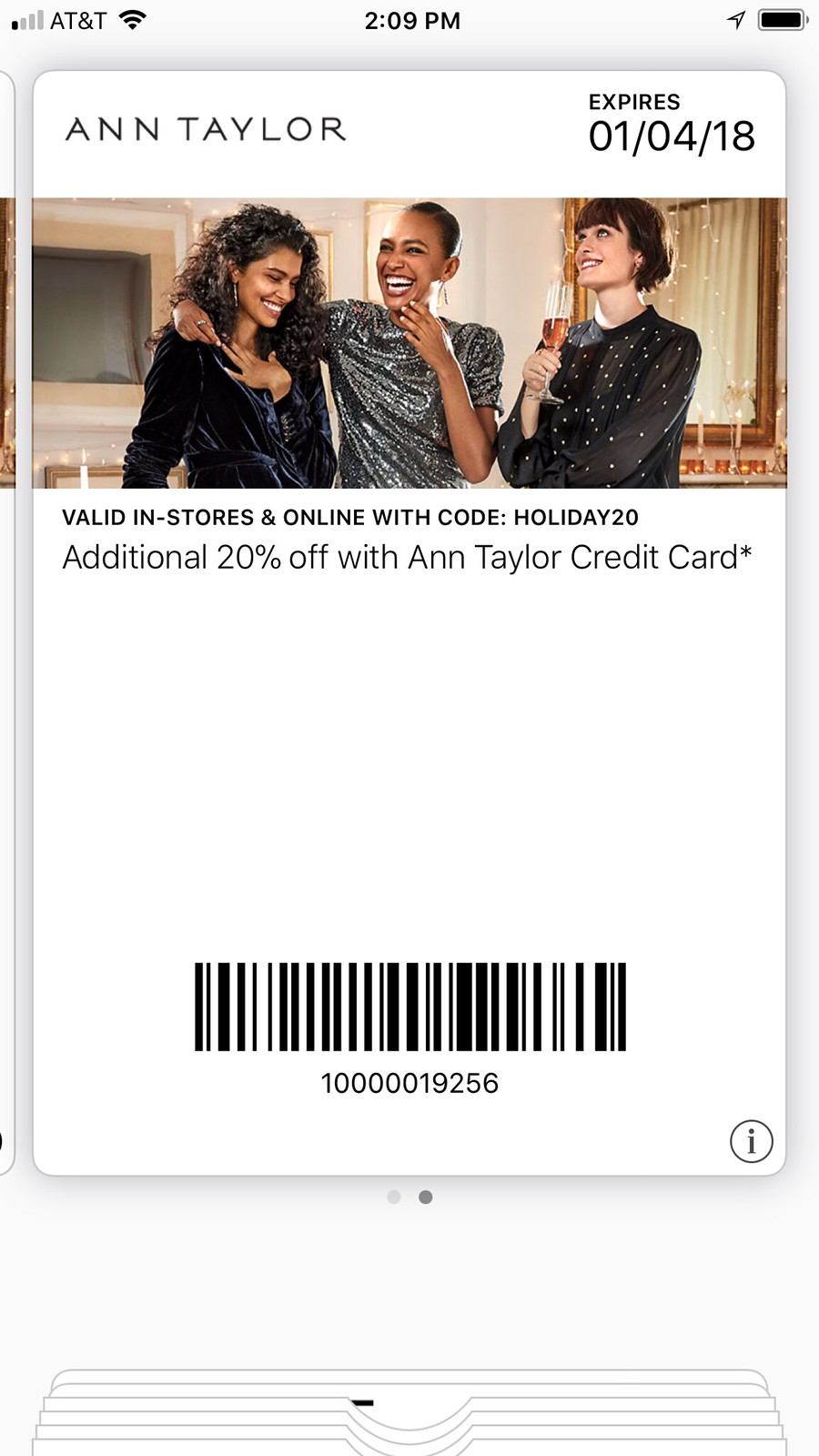 Ann Taylor Cardmember Holiday Savings - Valid through January 4, 2018