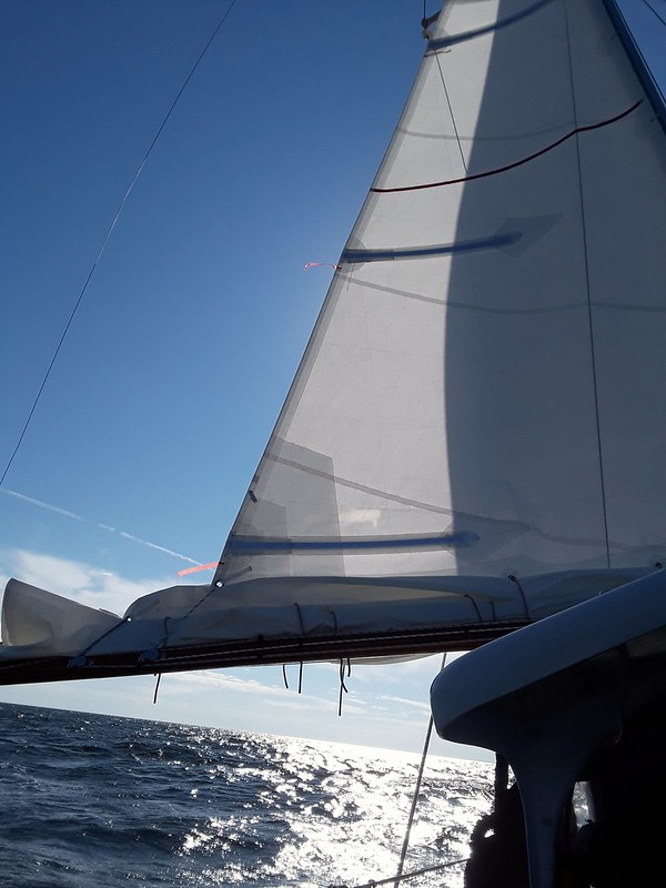 Triple Reefed in 35 knots heading into Deltaville, Va.