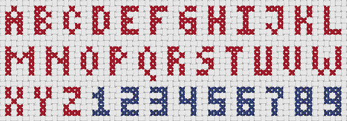 Preview of Free Cross Stitch Fonts: Alphabets and Numbers Block Font Sampler