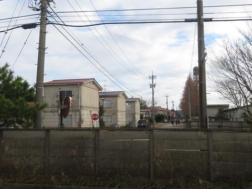 金沢競馬場の裏の駐車場から見た厩舎
