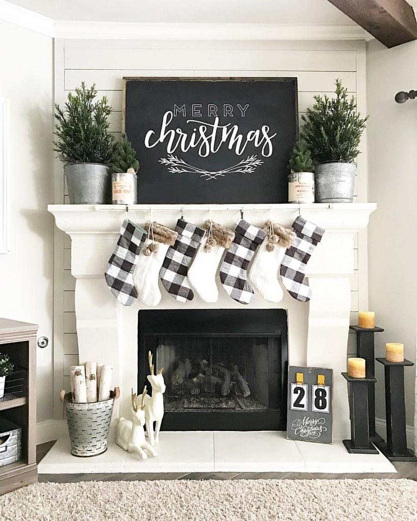 Christmas Holiday Fireplace Mantle Decoration Ideas Black White Plaid Stockings DIY
