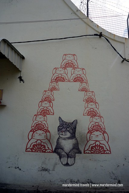 Love Me Like Your Fortune Cat by ASA Penang Street Art