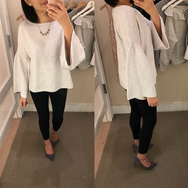 LOFT Rib Trim Bell Sleeve Sweater, size XS regular