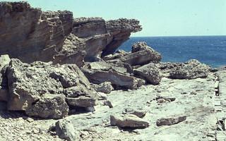 Kalithea headland. Bare eroding rock. Northeast Rhodes