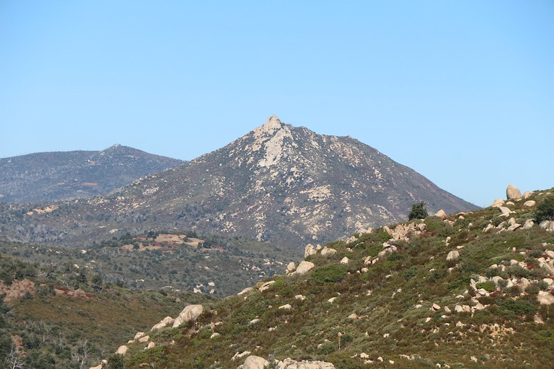 Zoomed-in view of Stonewall Peak from the Upper Descanso Creek Trail