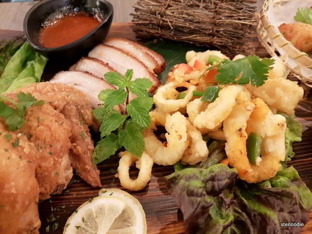 Chicken Wings, Korean BBQ Pork Belly, Calamari