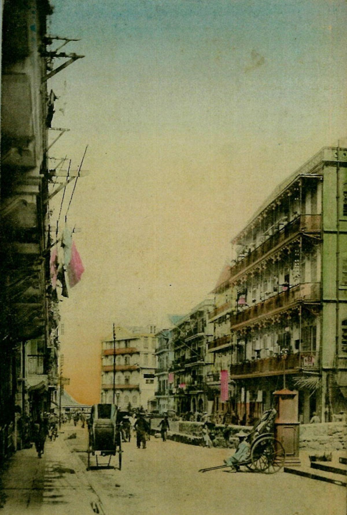 1910年代,山道塘西妓院及酒樓,圖片正中為聯陞酒樓。