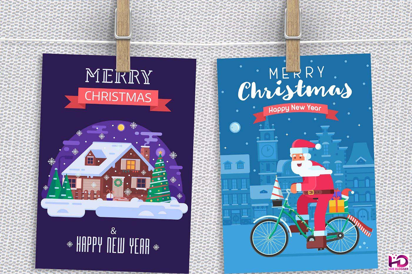 6 bộ Vector thiết kế thiệp Giáng Sinh tuyệt đẹp