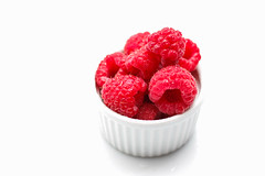 Raspberries Close-Up on a White Background