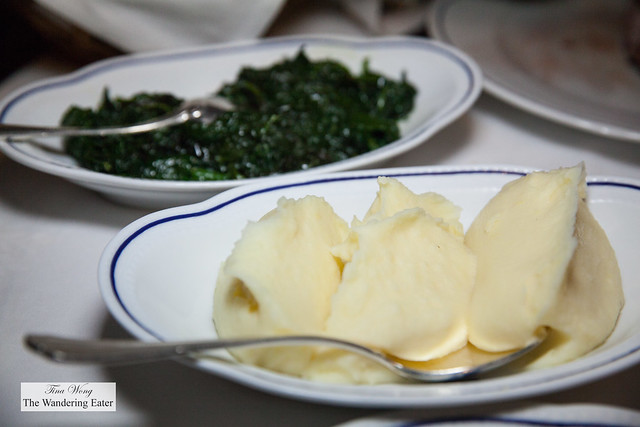 Side dishes - mashed potatoes and sauteed spinach