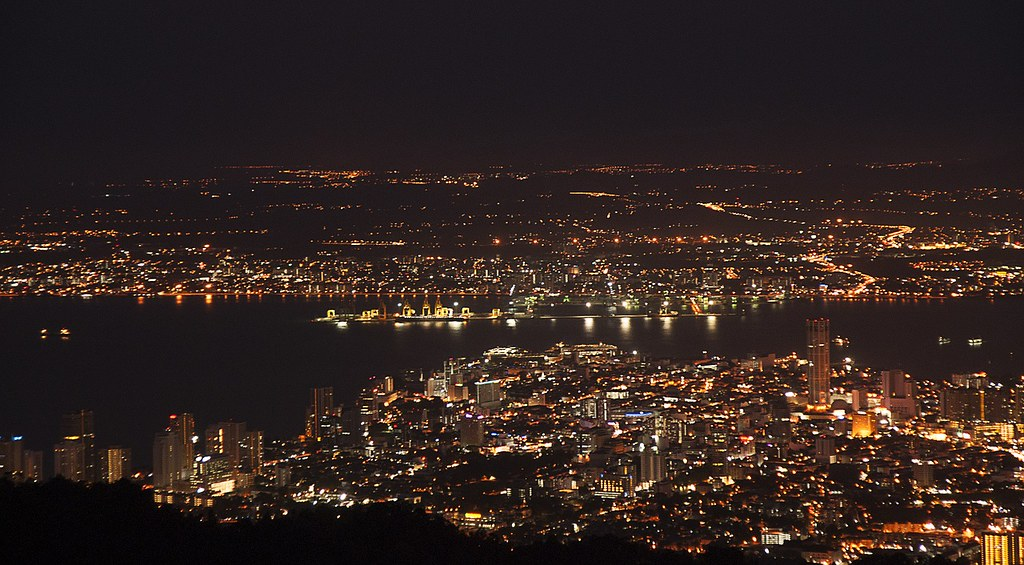 Night time view from Penang Hill