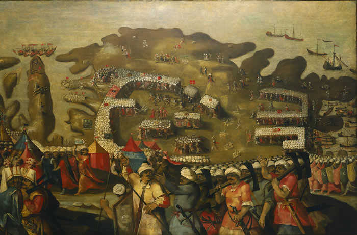 Arrival of the Turkish Fleet during Great Siege of Malta, by Matteo Perez d'Aleccio