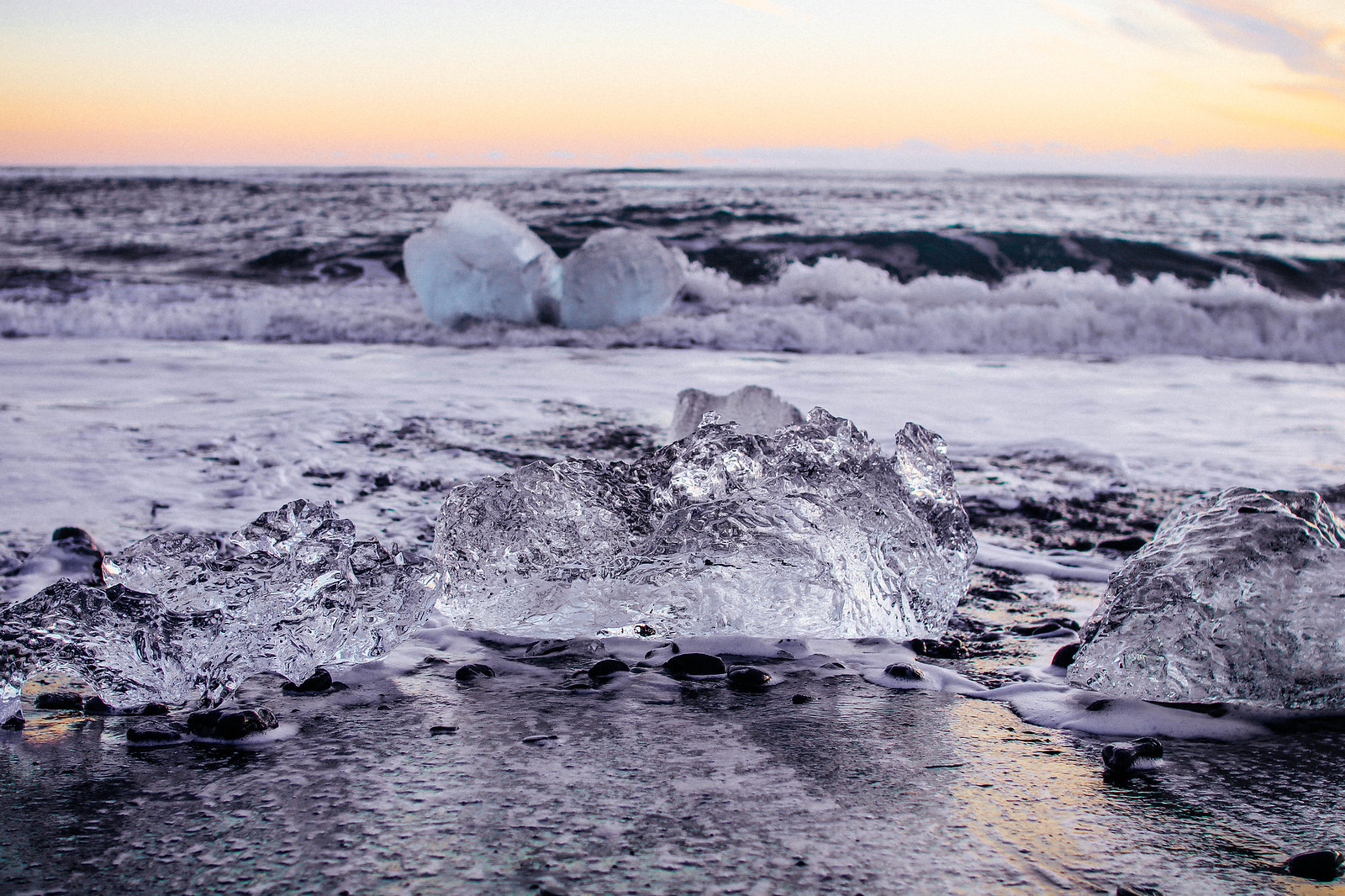 Glacier Lagoon Diamond Beach Iceland Winter