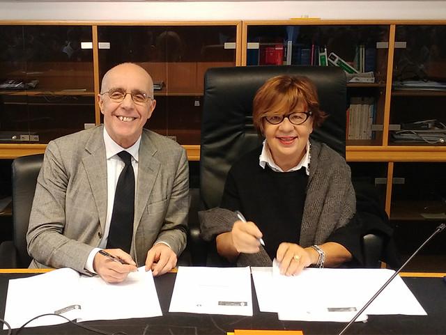 Foto firma protocollo Giovanni Stefanì e Anna Cammalleri