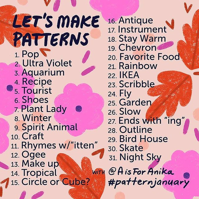 I'm sharing this now so that everyone can see and hopefully be inspired to join me in Pattern January 2018! @aisforanika just announced her list and I know she works hard on organizing it. I try not to look ahead, and just deal with each prompt as it come