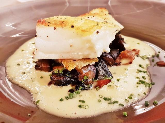 Chilean Seabass, Mushroom And Bacon Ragout, Truffle Yuzu Butter Sauce