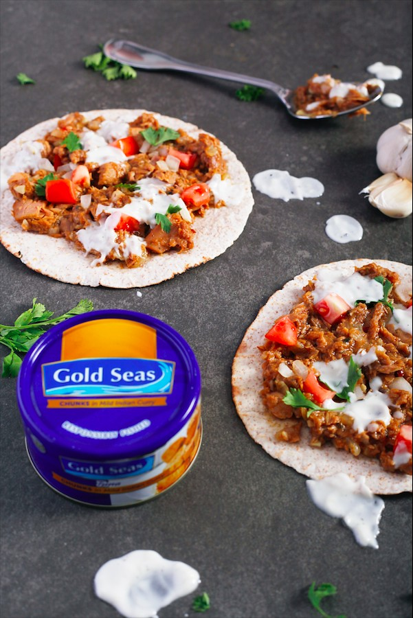 6. Curry Tuna Shawarma with Garlic Yogurt Sauce