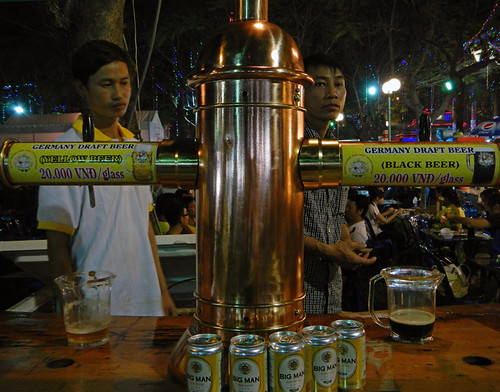 Street food in HCMC (Saigon); this is German-style beer and comes in the flavours yellow and black