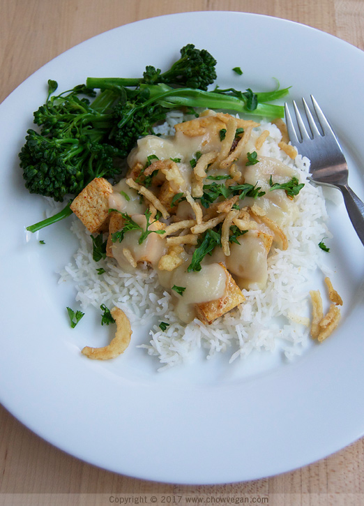 Roasted Tofu with Miso Cauliflower Gravy